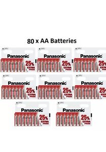 80 Panasonic AA Zinc Batteries Battery NEW Panasonic MN1500 LR6 1.5V EXPIRY 2019