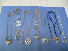 hearts peace signs doves love 8 necklaces 1 bracelet  Jewelry lot 9 pcs