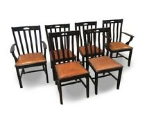 Contemporary Painted Dining Chairs With Leather Seats - Set of Six