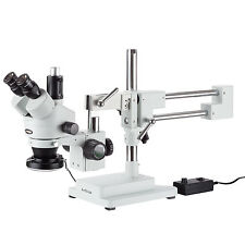 AmScope 3.5X-90X Trinocular Stereo Microscope with 144-LED Ring Light