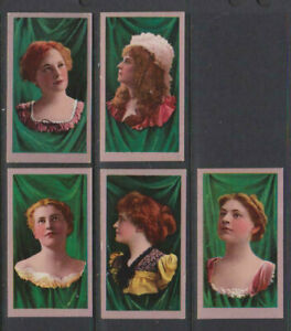 CIGARETTE CARDS American Tob 1900 Beauties (curtain background) - 5 cards