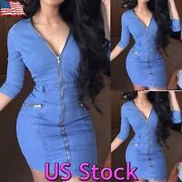 US Women V Neck Denim Mini Dress Sexy Zip Up Bodycon Party Evenings Clubwear Top