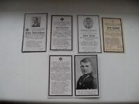 5 Sterbebilder Soldaten Wehrmacht  Gebirgsjäger, Grenadier, Pilot, etc