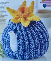 KNITTING PATTERN Textured Tea Cosy topped Daffodil Flower Home Cascade Aran