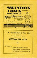 Swindon Town v  Arsenal 12/2/1949 Friendly scarce programme signed by 12 Arsenal