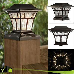 """BRONZE SOLAR LED DECK POST CAP LIGHT 4""""x4"""" 6""""x6"""" Garden Patio Outdoor Lighting"""