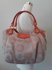 Coach Ashley Coral/Salmon/Khaki Dotted Op Art Satchel Shoulder Handbag Purse NEW