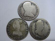 1810-1814-1833 CATALONIA MADRID SEVILLA 2 REAL FERDINAND VII LOT 3 COIN COLONIAL