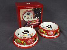 Dillard'S Trimmings ~ Santa Paws Cat Water & Food Bowl Ceramic Dishes Christmas