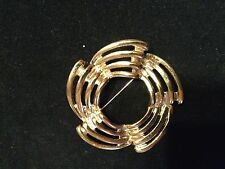 GOLDTONE CIRCLE PIN BROOCH 2 INCHES