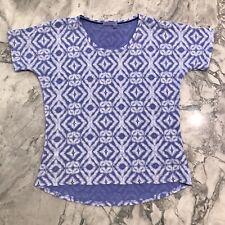 Fresh Produce Sportswear Shibori Hannah Blue Top Tee Organic Cotton Blend Large