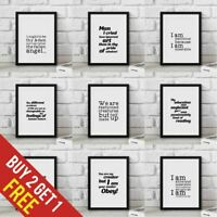 Frankenstein Poster Film Quotes Book Wall Art Prints Framed Gift Movie Quotes