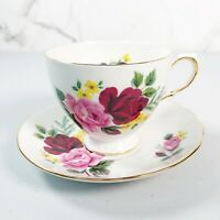 Queen Anne 8288 Tea Cup and Saucer Set Roses Bone China England Pink Yellow
