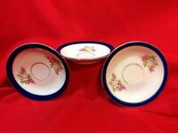 """Antique Lot of 3 Saucers Made in Germany 4 3/4"""" across Wide Blue Rim & floral"""