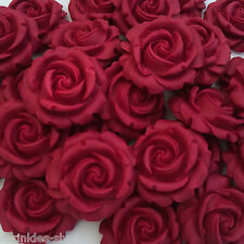 12 RUBY RED CREAM ROSES edible sugar flowers cake cupcake decorations wedding