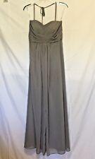 Beautiful! Davids Bridal Floor Length Strapless Gray Chiffon Formal Dress ~Sz.4