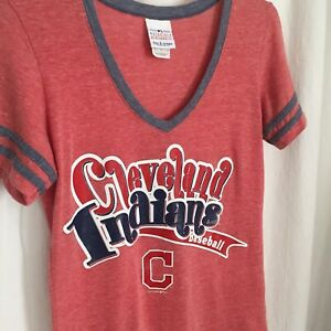 0720014 MLB Cleveland Indians Small Pink Red V Neck Shirt Short Sleeve S Top