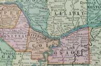 """Vintage 1900 MISSOURI Map 22""""x14"""" ~ Old Antique Original JEFFERSON CITY ST LOUIS"""