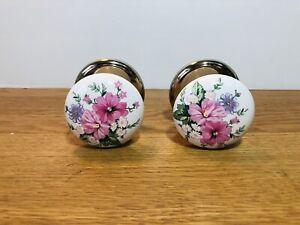 2 x Vintage Gainsborough Reclaimed Floral Ceramic Door Knobs
