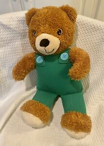 "Kohls Cares Brown Teddy Bear Green Corduroy Overalls Plush Stuffed Animal 14"""