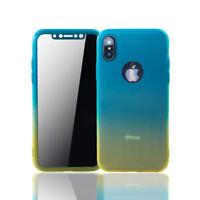 Apple IPHONE XS Funda Estuche Móvil Protector Folio Panzer 9H Azul/Amarillo