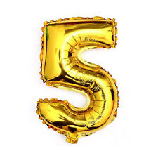 """40"""" Metallic Gold Glossy Five Year Old Birthday Party Number 5 Float Balloon USA"""