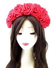 Grand Rouge Fleur Rose Cheveux Couronne Bandeau Tête de mort Calavera Halloween