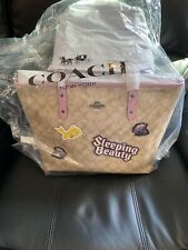 Disney X COACH City Zip Tote Bag Purse In Signature Canvas Sleeping Beauty - NEW