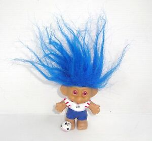 Figurine Antique Doll Troll Doll Russ 6 5/16in Blue Player Soccer