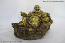 "7""Chinese Buddhist Brass Copper Yuan bao Maitreya Buddha on Nine Dragon Statue"