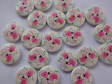 30 x PINK HEART 2 HOLE WOODEN 18mm SEWING BUTTONS, SCRAPBOOKING, CRAFT ETC