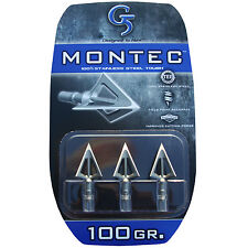 "G5 Broadhead Montec 3pk 100 Grain 1 1/16"" Cut #00112 Stainless Steel"