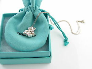Auth Tiffany & Co RARE Silver Teddy Bear Ribbon Bow Necklace Pendant Chain