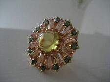New JCrew Crystal Sunburst Cocktail Ring 7 champagne
