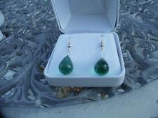 New Nwot Huge dangling 24+carat Green Amethyst 14k gold & Silver earrings