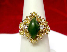 14K YELLOW GOLD JM NATURAL GREEN JADE GOLDEN NUGGET RING WITH ACCENTS SIZE 6.5!