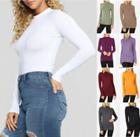 Women's Basic Soft Stretch Cotton Top Shirt Long Sleeve Mock Neck Fitted Solid