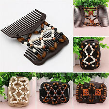 CHIC Easy Magic Wood Bead Double Hair Comb Clip Stretchy Women Hair Accessories