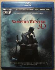 ABRAHAM LINCOLN VAMPIRE HUNTER BLU-RAY 3D + BLU-RAY + DVD WITH FREE SHIPPING