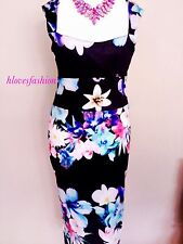 🌸💙Floral Midi Bodycon Dress M UK 10 12 EU 38 40 Gorgeous! FAST🆓📮