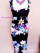 🌸 💙 Midi Vestido Bodycon Floral ex Lipsy M Reino Unido 10 12 UE 38 40 magnífico!! rápido 🆓 📮