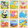 Development Baby 3D Wooden Puzzle Cartoon Animal Learning Educational Kids Toys