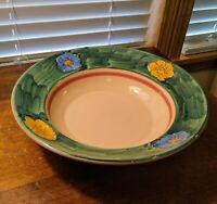 "Lamas Italy Pottery Turquoise Blue And Yellow Flowers 12"" Round Serving Bowl"