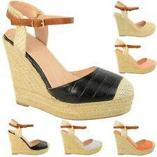 Womens Espadrilles High Wedge Summer Sandals Strappy Party Holiday Shoes New