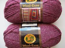 Lion Brand Wool-Ease wool blend yarn, Dark rose heather, lot of 2 (197 yds each)
