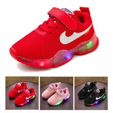 KIDS BOYS GIRLS LED RUNNING TODDLER SHOCK AIR LIGHT UP INFANTS TRAINERS SHOES UK