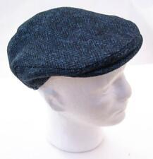 Traditional Harris Tweed Flat Cap - Navy Herringbone - Made in Yorkshire
