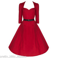 PRETTY KITTY ROCKABILLY 50s RED VINTAGE 3/4 SLEEVE SWING RETRO PROM DRESS 8-22