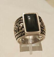 SILPADA R1096 Black Onyx Filigree Scroll Sterling Silver Wide Band Ring Sz 8
