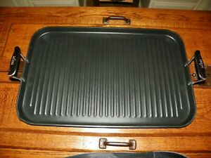 ALL CLAD NON-STICK DOUBLE BURNER GRILL PAN <NICE ALUMINUM HANDLES> MINT COND